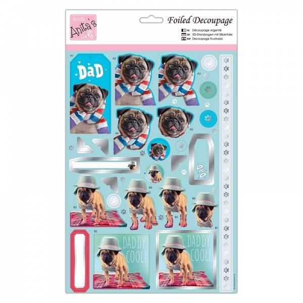 Foiled Decoupage - Cool Pugs